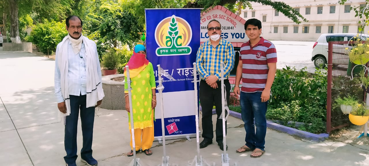 AROH donated hands free sanitizer dispensing stand to Delhi schools to ensure touch free sanitization for children at school