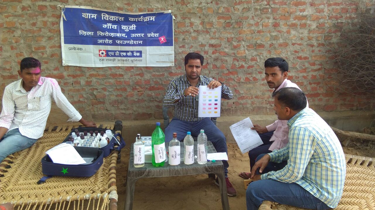 Water testing of all water outlets in village